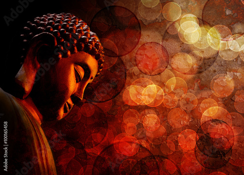 Foto op Canvas Boeddha Bronze Red Zen Buddha Statue Meditating