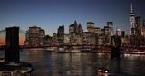 New York City night buildings skyline Brooklyn Bridge