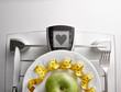 Concept healthy food on table with apple heart message closeup