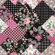seamless patchwork pattern with roses