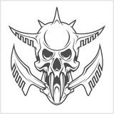 Cyber punk robot skull