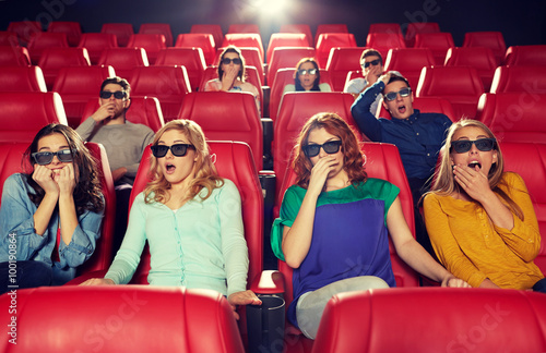 Poster friends watching horror movie in 3d theater