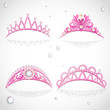 Shining pink tiaras with diamonds and pearls