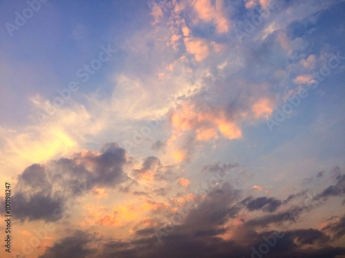 sunset with pink sky