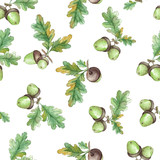 Watercolor Seamless pattern  with acorns - 100200487