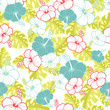 Cotton fabric Hawaiian Seamless  Pattern with hibiscus flowers