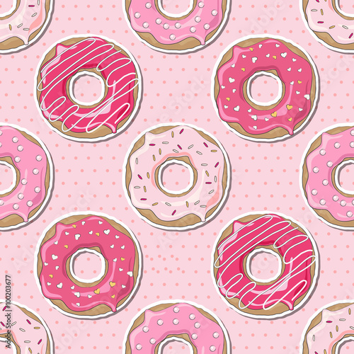 Cotton fabric Seamless Valentine donuts