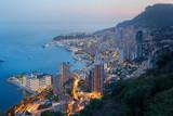 Monte Carlo, illuminated city view in the evening, Monaco