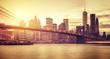 Retro stylized Manhattan at sunset, New York, USA.