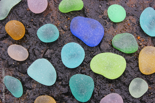 Zdjęcia Colorful Sea Glass Pebbles
