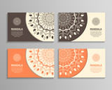 Ornamental template for business card, flyer or banner with round mandala. Vector ornamental mandala. Stylish geometric pattern in oriental style. Arabic, indian, pakistan, asian motif.