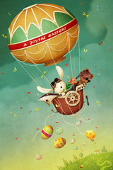 Easter greeting card with  balloon, eggs and rabbit and bear.