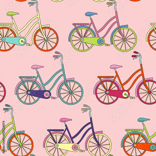 Materiał do szycia Vector seamless pattern with bicycle. Can be used for desktop wallpaper or frame for a wall hanging or poster,for pattern fills, surface textures, web page backgrounds, textile and more.