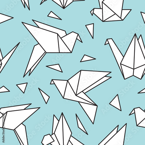 Cotton fabric Seamless pattern with origami birds. Can be used for desktop wallpaper or frame for a wall hanging or poster,for pattern fills, surface textures, web page backgrounds, textile and more.