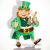 Cute fat Leprechaun with a pot of ale foam. Poster St. Patrick