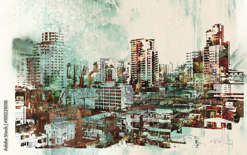 cityscape with abstract textures,illustration painting - 100228018