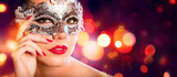 Sensual Woman With Carnival Mask - Red Golden Background