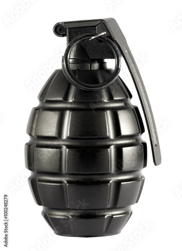 Poster Single grenade on isolated white background