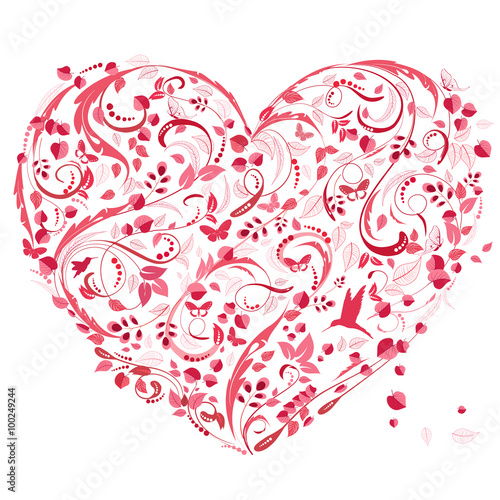 Fototapeta lovely floral heart for your design