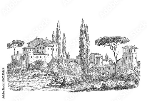 Naklejka Old village art illustration
