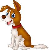 Cartoon funny dog sitting isolated on white background