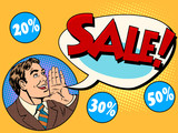 Fototapety The man announces sale and discounts