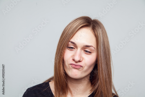 beautiful girl face emotion white background