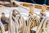 Ropes on a old sailing yacht