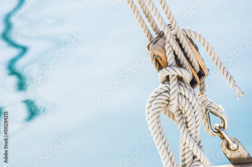 Nautical wood pulley and ropes