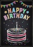 Fototapety Birthday Invitation card. Birthday cake with candle