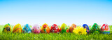 Fototapety Colorful hand painted Easter eggs on grass. Banner, panoramic