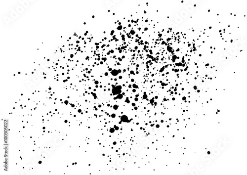 Dust overlay, distress grunge dirty grain vector texture, Simply Grainy grunge black abstract texture effect on a white background. Black ink blow explosion on black background. Paint spray, drop.