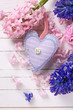 Background  with fresh blue and pink flowers hyacinths  and deco