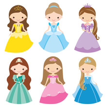 Princess In Different Costumes Sticker