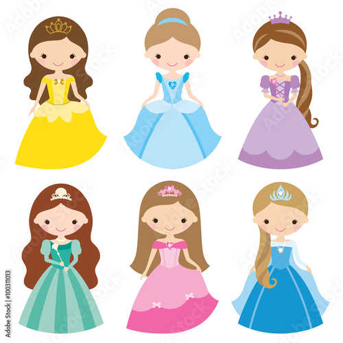 Zdjęcia na płótnie, fototapety, obrazy : Vector illustration of princess in different costumes.