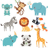 Fototapety Set of cute animals isolated on white background