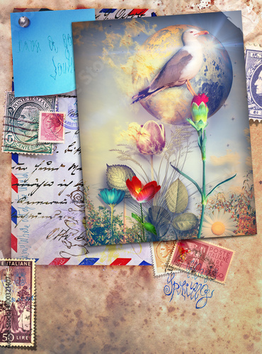 Staande foto Imagination Vintage postcards with bird and colored flowers.