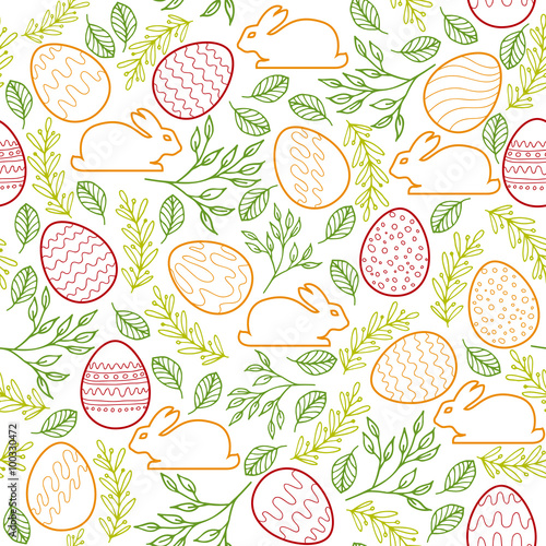 Materiał do szycia Seamless pattern with Easter bunny, eggs and floral elements