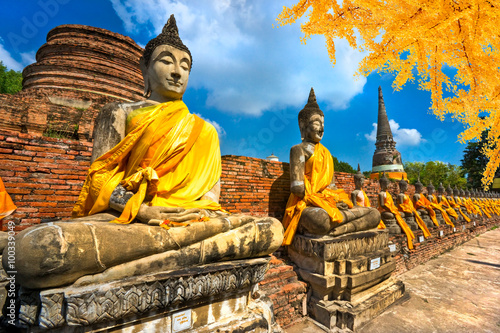 Poster, Tablou Buddha Statues in Ayutthaya, Thailand,