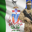 Soldier with machine gun and Canadian province flag on background series - Yukon