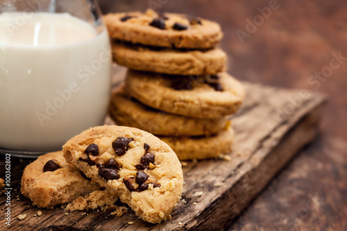 Poster  Chocolate Chip Cookie with milk bottle