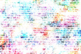 Colorful grunge urban art wall background - 100365268