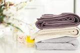 Towels and domestic bathroom