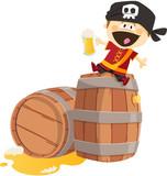 Fototapety Pirate sur un tonneau