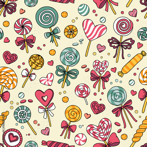 Fototapeta Vector seamless pattern with candy and lollipops