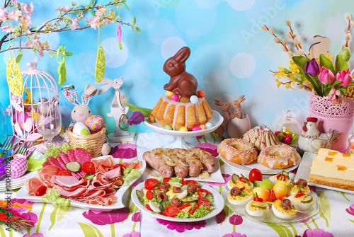 Fototapeta traditional easter breakfast on festive table