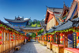 Fototapety Street decorated with traditional red lanterns, Lijiang, China