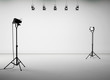 White studio room with equipment, no body. 3d render