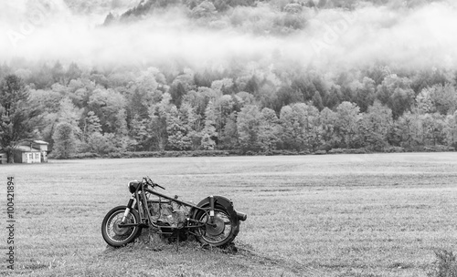 Aluminium Scooter Abandoned motorbike on a meadow