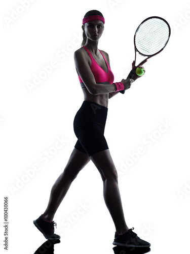 Obraz na plátně woman tennis player silhouette
